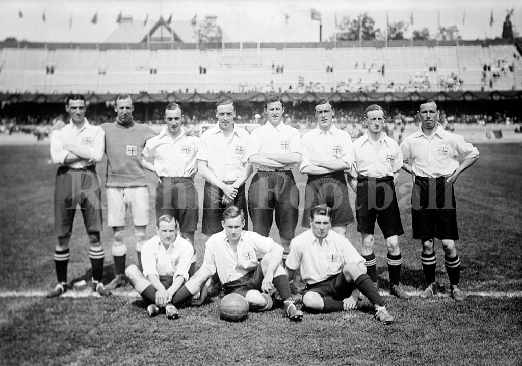 "Vintage contemporary photo of the England / Great Britain football team which won the Gold Medal at the 1912 Summer Olympics in Stockholm, Sweden. The team beat Denmark 4 - 2 in the final on July 4 at the Stockholm Olympiastadion in front of a crowd of 25,000 people. The International Olympic Committee (IOC) credits ""Great Britain"" as the winners because the United Kingdom of Great Britain and Ireland competed under that description at the Games. The Football Association, however, who organised the team to represent the UK, credits the win to the ""England"" national amateur football team rather than a British team. Official IOC records name the 11 players in the team who won the final as: Forwards - Ivan Sharpe, Gordon Hoare, Harold Walden, Vivian Woodward, Arthur Berry; Half-backs - Joseph Dines, Henry Littlewort, Douglas McWhirter; Backs - Arthur Knight, Thomas Burn; Goalkeeper - Ronald Brebner. Their respective positions in the team photo is unknown."
