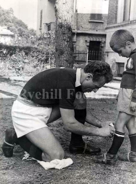 Valention Mazzola and his son Sandro, shortly before Superga.