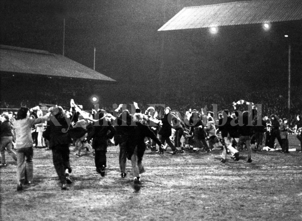 Sunderland fans invade the pitch after the 5th round win at Roker Park