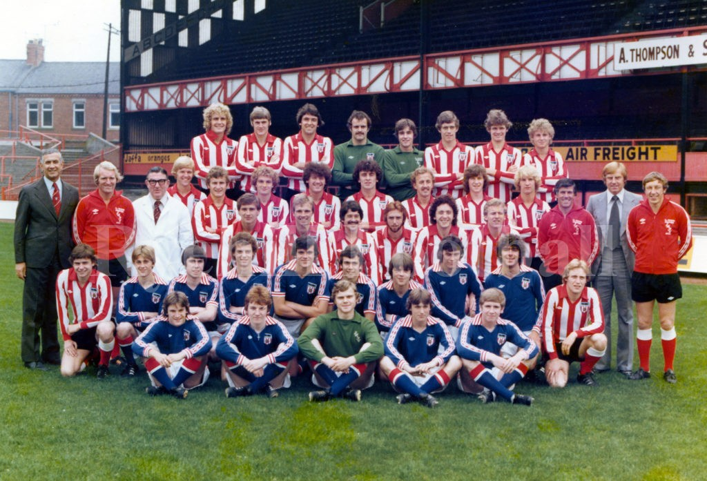 Sunderland AFC 1978/79; Back row – Clarke, Ashurst, Lee, Siddall, Watson, Hindmarch, Chisholm, Duncan Third row – Adamson, Knighton, Watters, Gratton, Docherty, Gilbert, Arnott, Bolton, Henderson, Coady, Elliott, Herd, Merrington, Farrimond Second row – Hutton, Myers, Ginn, Golightly, Roddy, Harrison, Watson, Gault, Main, Weir Front row – Sherwood, Cooke, Crooks, Hamilton, Hughes