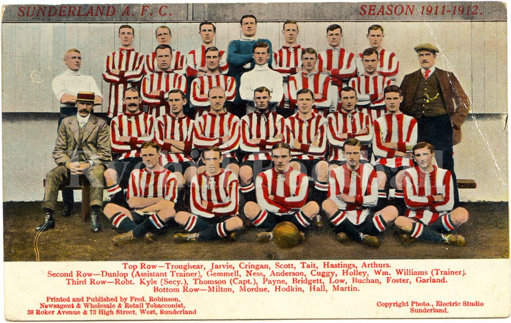 Sunderland AFC team 1911/12; a rare colourised postcard from the era