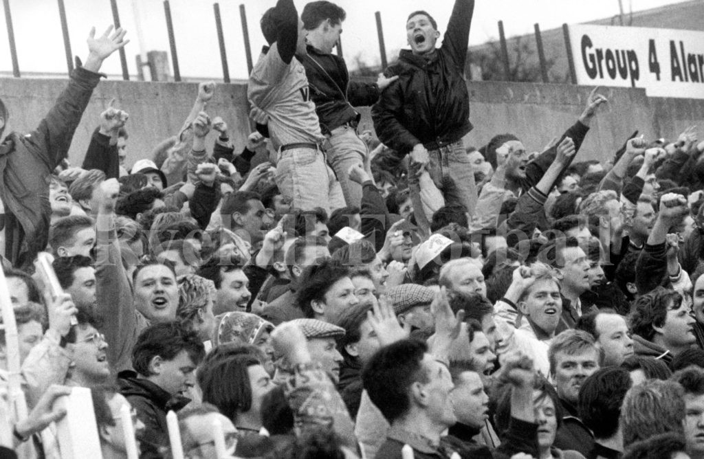 SAFC fans celebrate in The Leazes End as the red and whites head for play off victory at St James Park, 16 May 1990; it doesnt get any better than this!