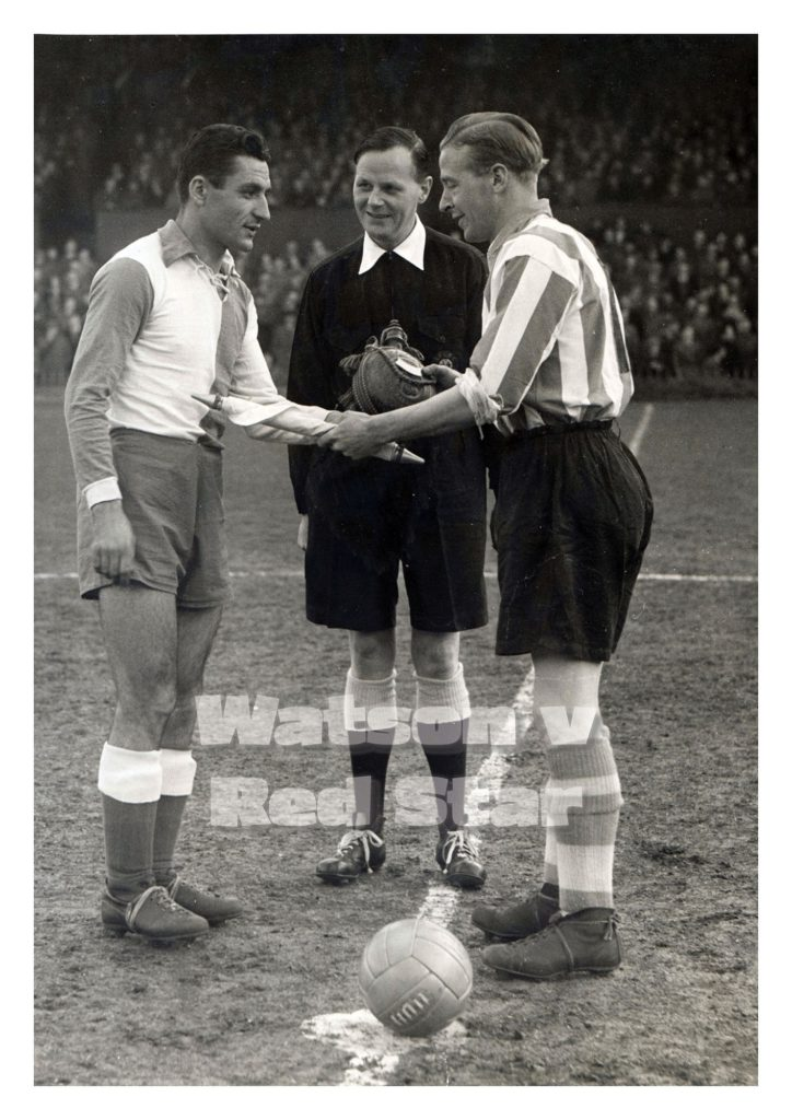Sunderland captain shakes hands with his Red Star counterpart, Tihomir Ognjanov.